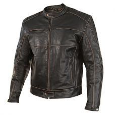 Xelement Mens Boone Charcoal Dark Brown Distressed Buffalo Leather Jacket